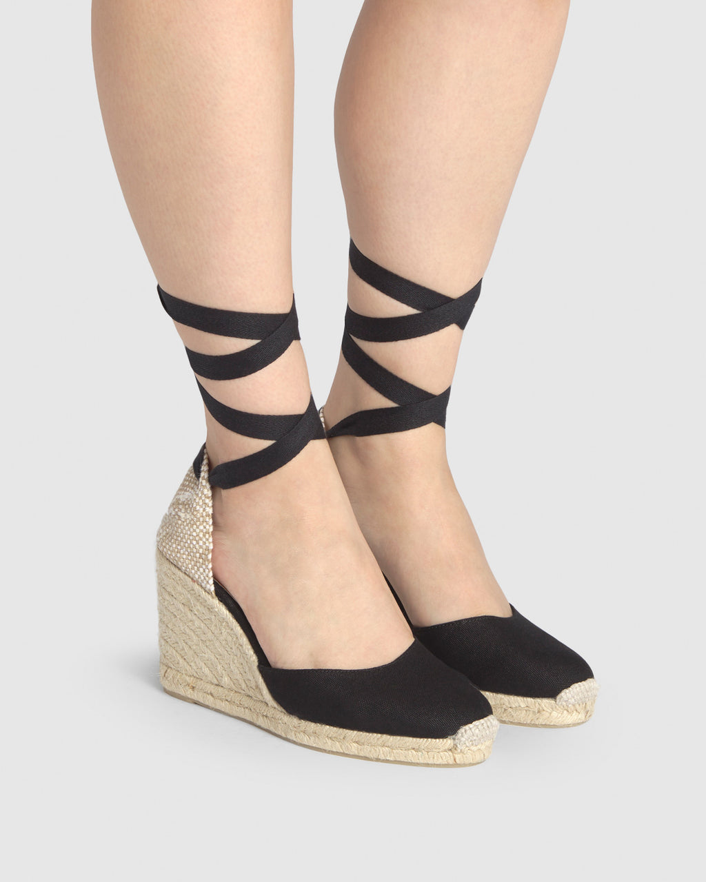 Castaner Carina 8 Wedge Espadrille - Black Canvas