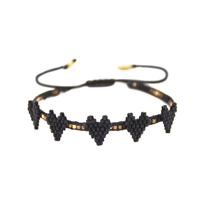 Mishky MULTI HEART Row Beaded Bracelet - Black and Gold