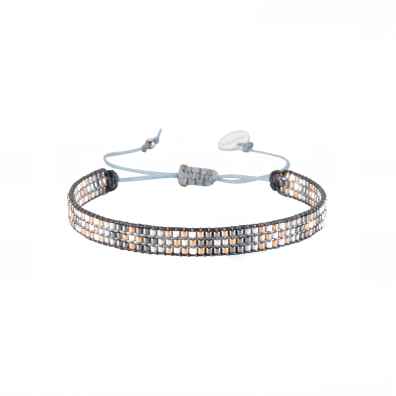 Mishky Track Beaded Friendship Bracelet - Grey and Gold