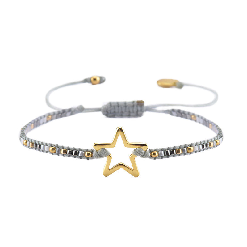 Mishky Star Beaded Bracelet - Grey & Gold