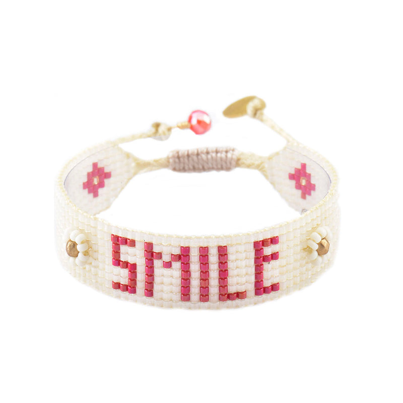 Mishky Smile Beaded Bracelet - Red & Cream