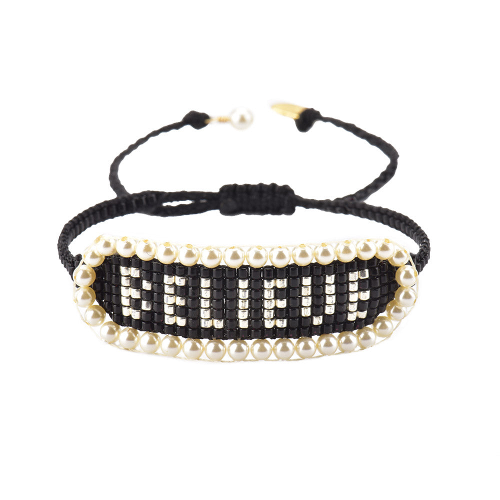 Mishky BELIEVE Pearl and Bead Bracelet - Black / Ivory