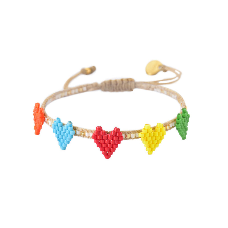 Mishky Heartsy Row Beaded Bracelet - Multi