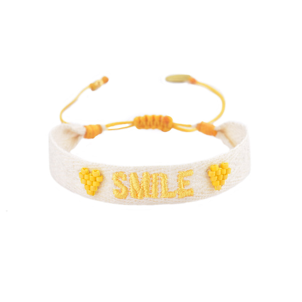 Mishky Smile Embroidered and Beaded Bracelet - Yellow