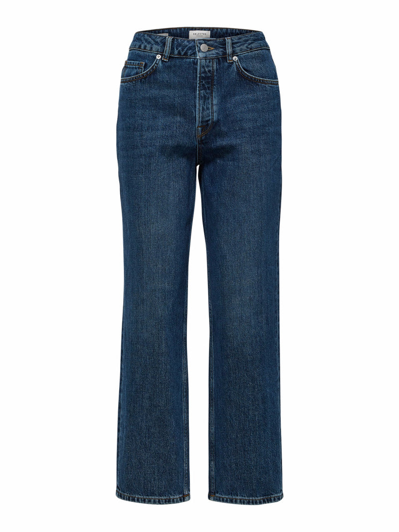Selected Femme High Waisted Straight Jeans - Medium Blue Wash
