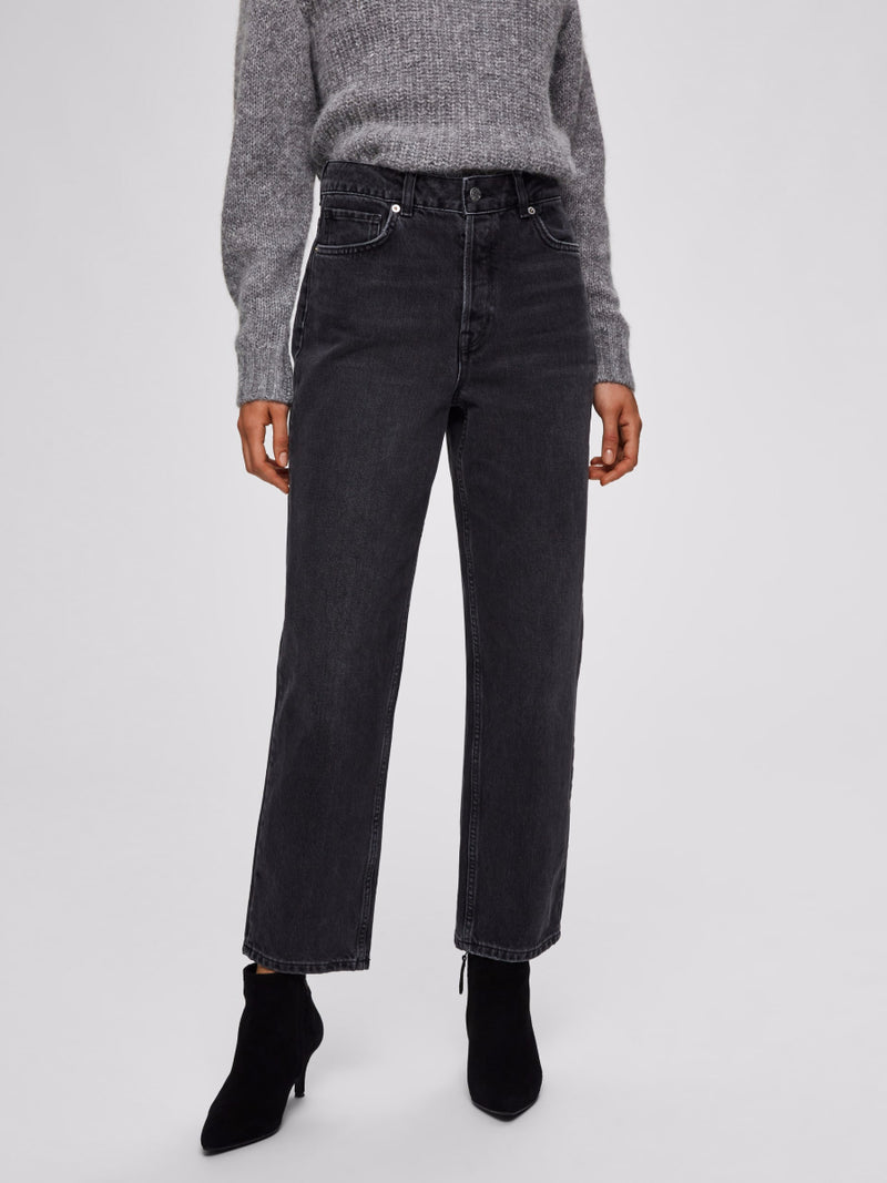 Selected Femme High Waisted Straight Jeans - Washed Grey Denim