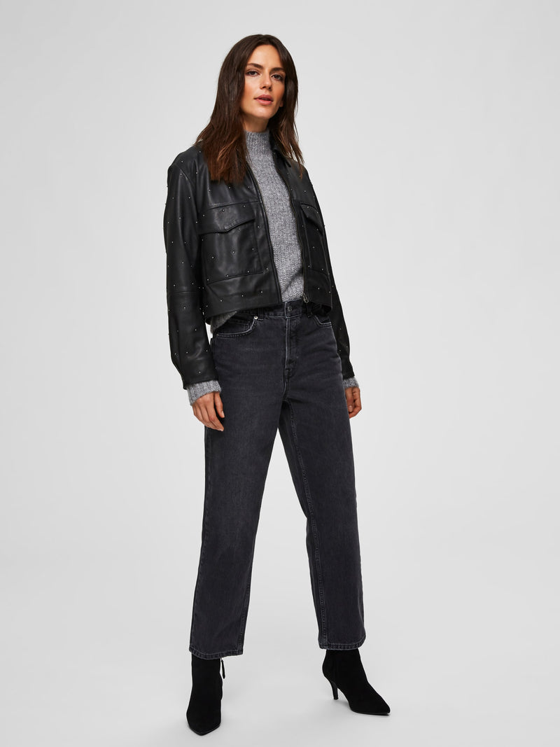 Seclected Femme High Waisted Straight Jeans - Washed Grey Denim