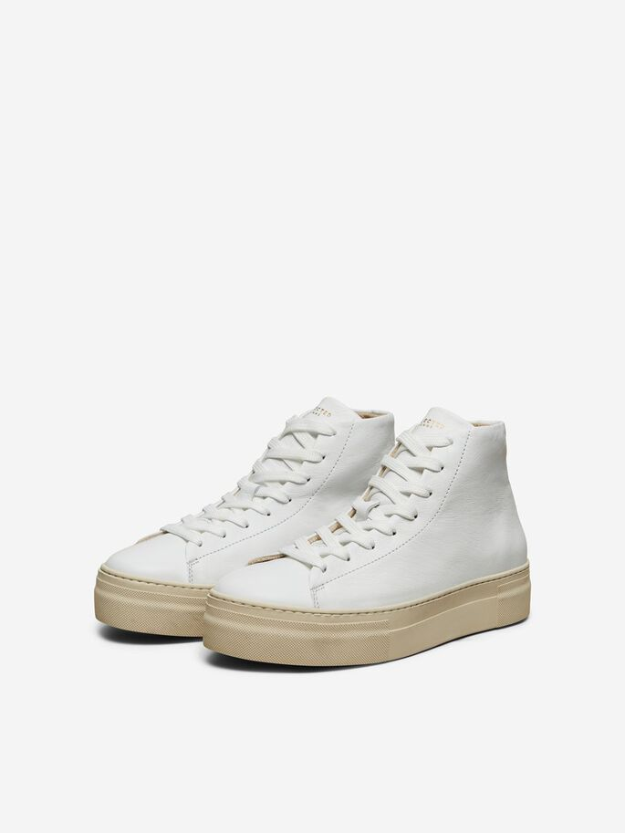 Selected Femme High Top Leather Trainers - White