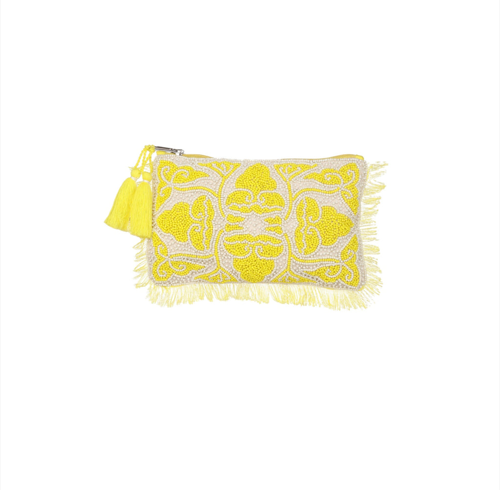 Ashiana Udaipur Beaded Pouch - White/Yellow