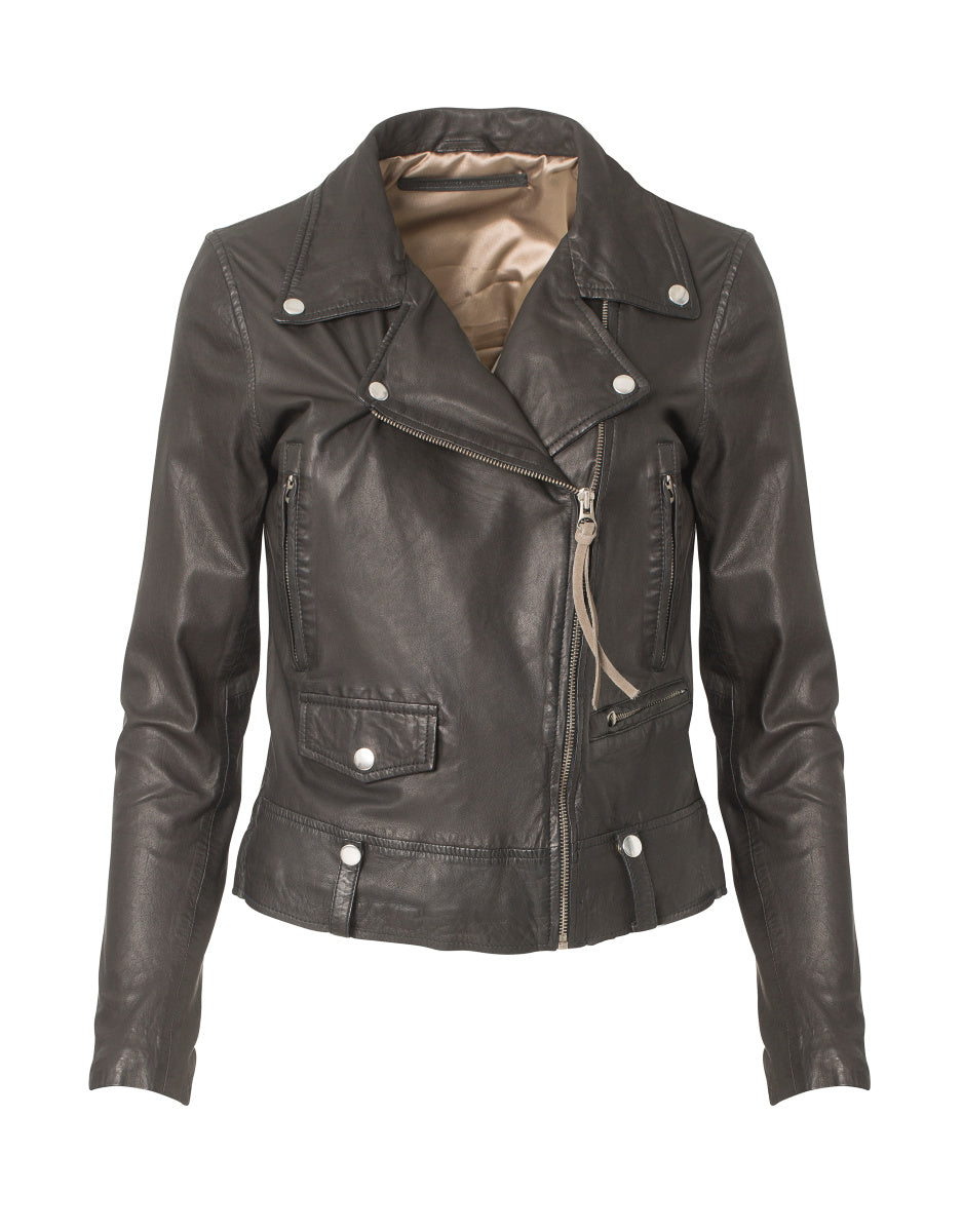 MDK Seattle New Thin Leather Biker Jacket - Black