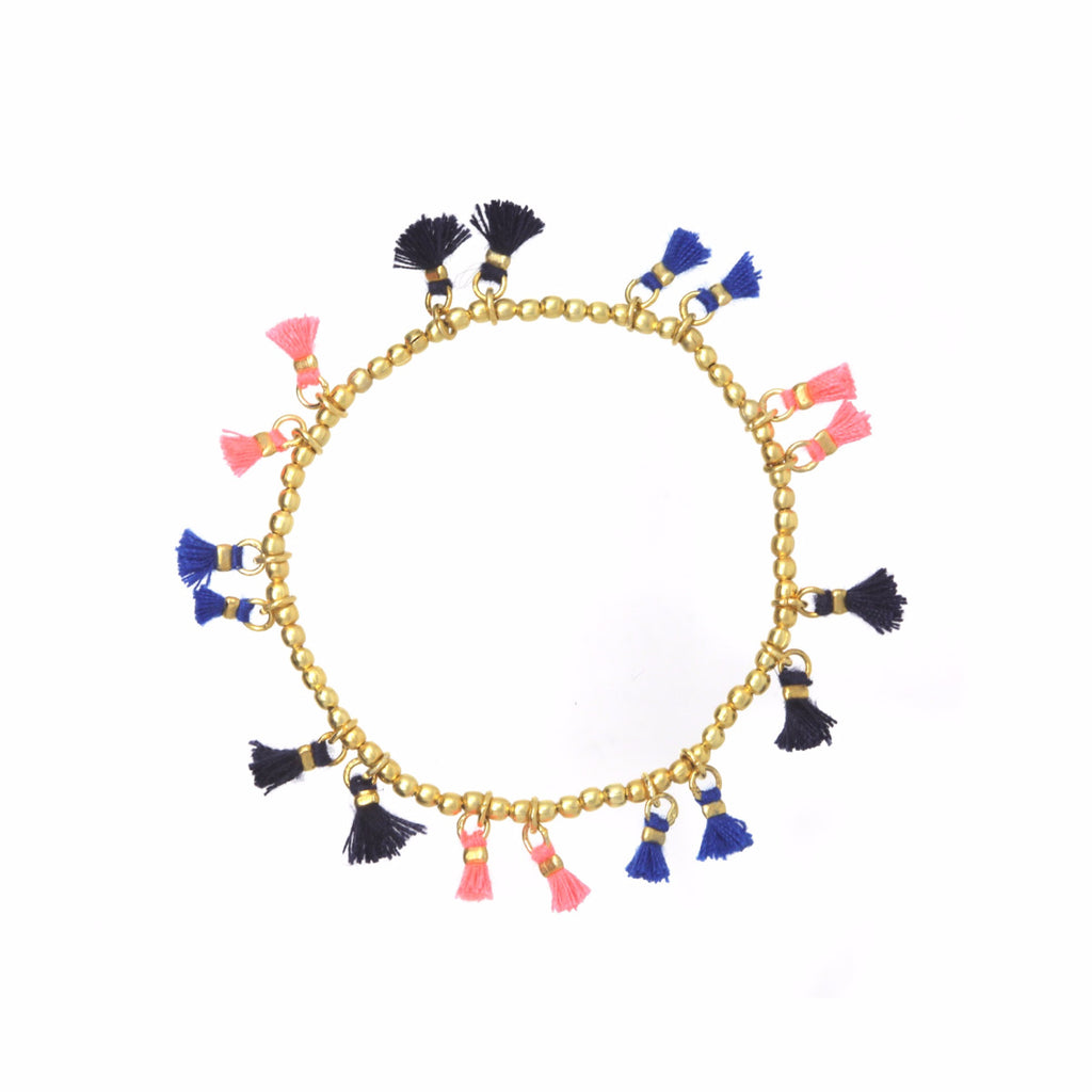 Ashiana London Florida Mini Tassel Bracelet - Navy