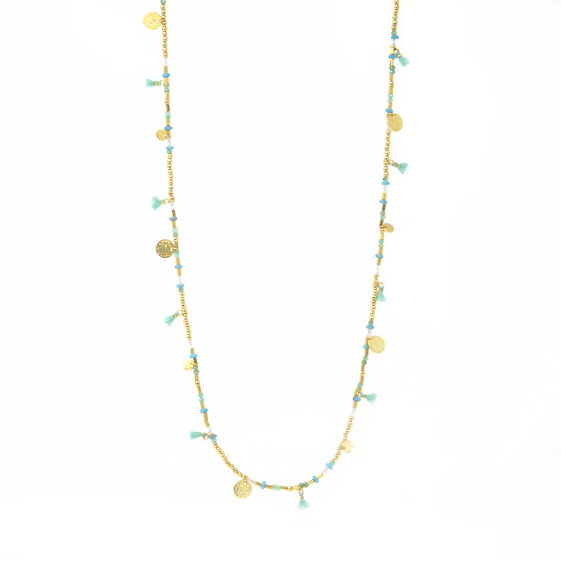 Ashiana London Aruba Tassel and Coin Long Beaded Necklace - Gold