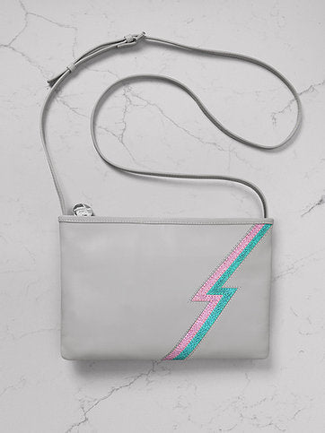 Mabel Sheppard Lightening Leather Cross Body Bag - Chalk