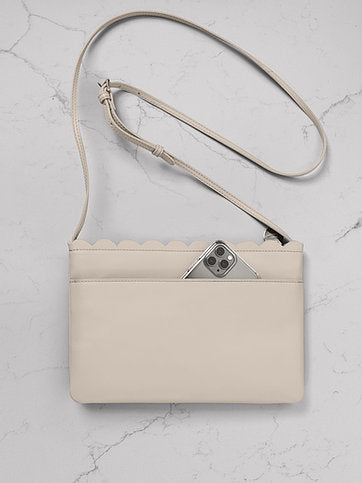 Mabel Sheppard Shell Leather Cross Body Bag - Ecru