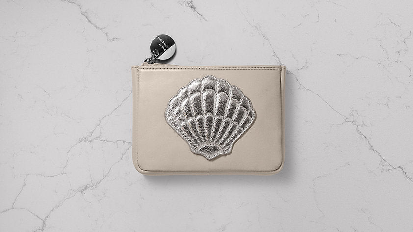Mabel Sheppard Shell Leather Purse - Ecru