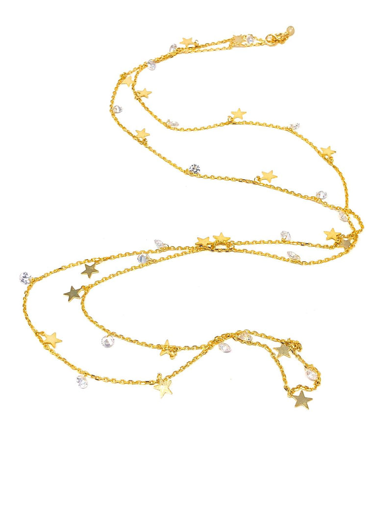 Icandi Rocks Star Long Necklace - Gold