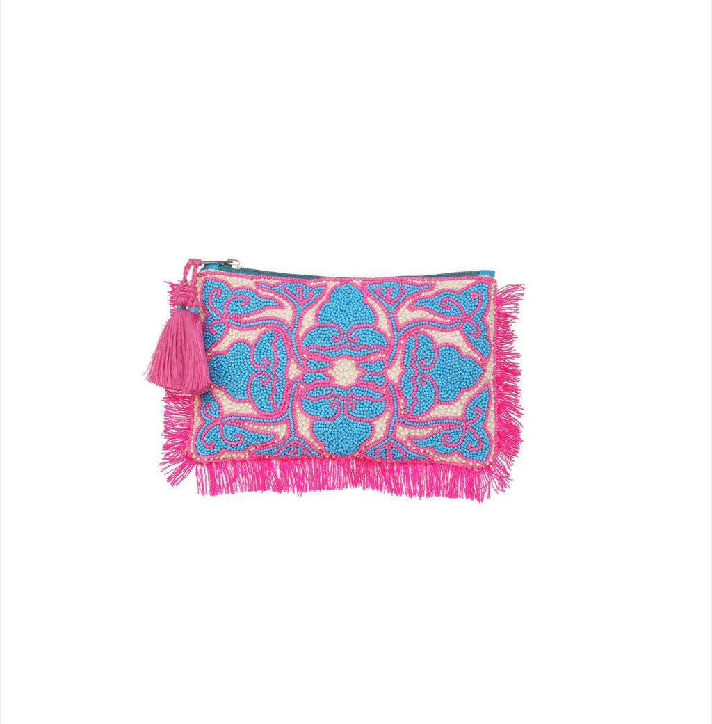 Ashiana Udaipur Beaded Pouch - Pink/Blue