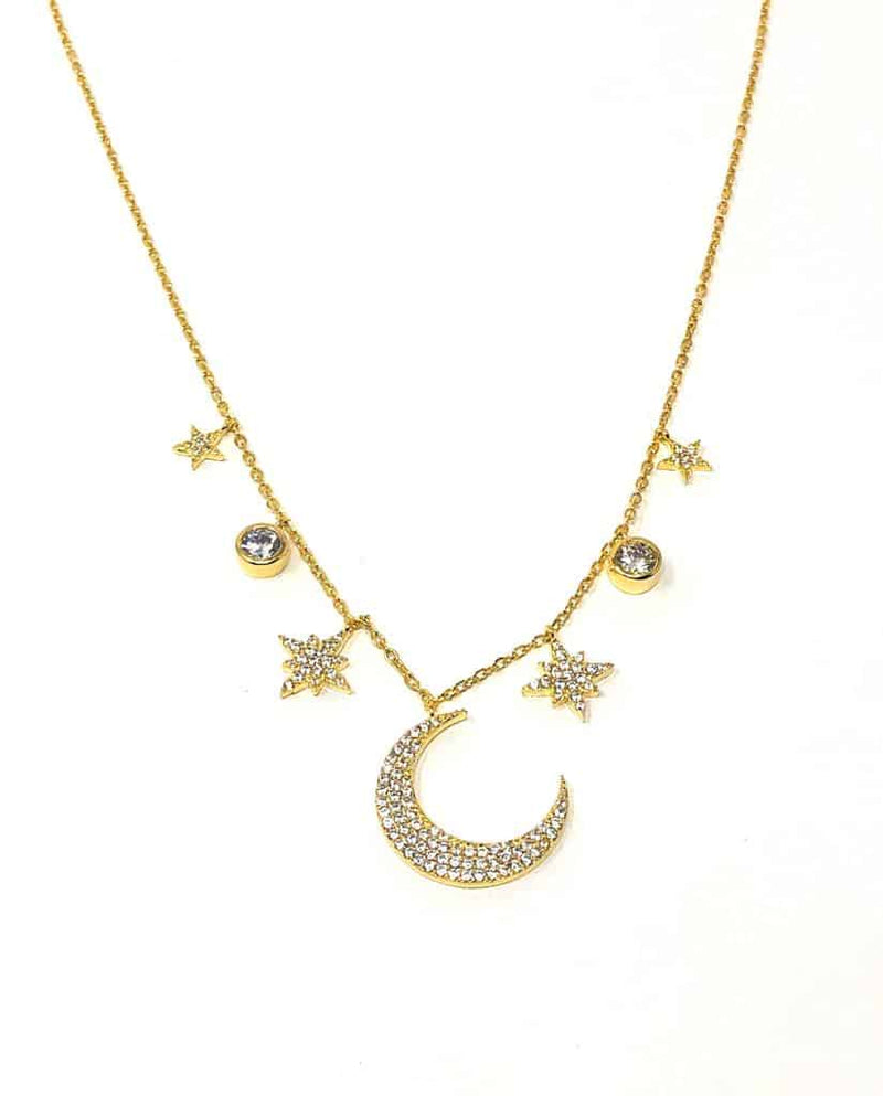 Icandi Rocks Wendy Moon Necklace - Gold