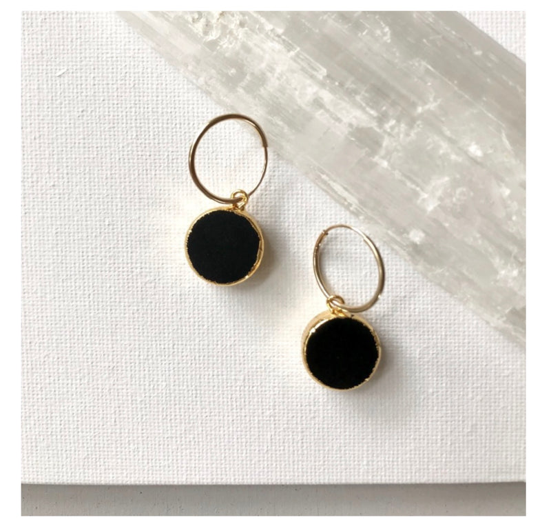 Decadorn Mini Circle Onyx Hoop Earrings