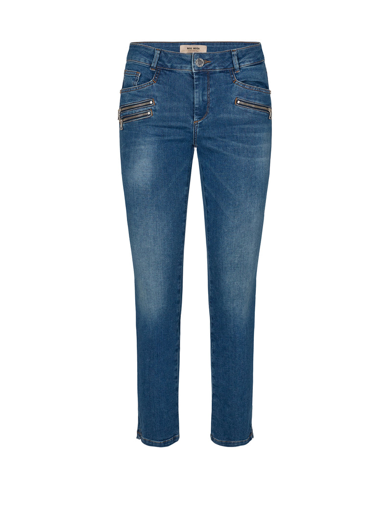 Mos Mosh Berlin Shore Zip Jeans - Blue Wash