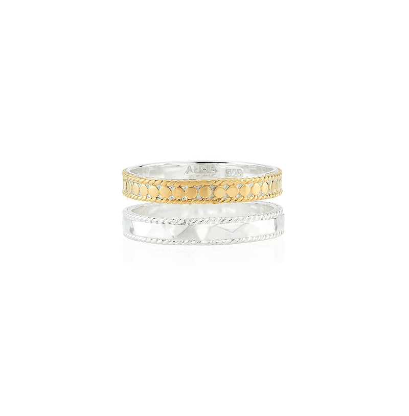 Anna Beck Hammered Double Band Ring  - Gold & Silver Mix