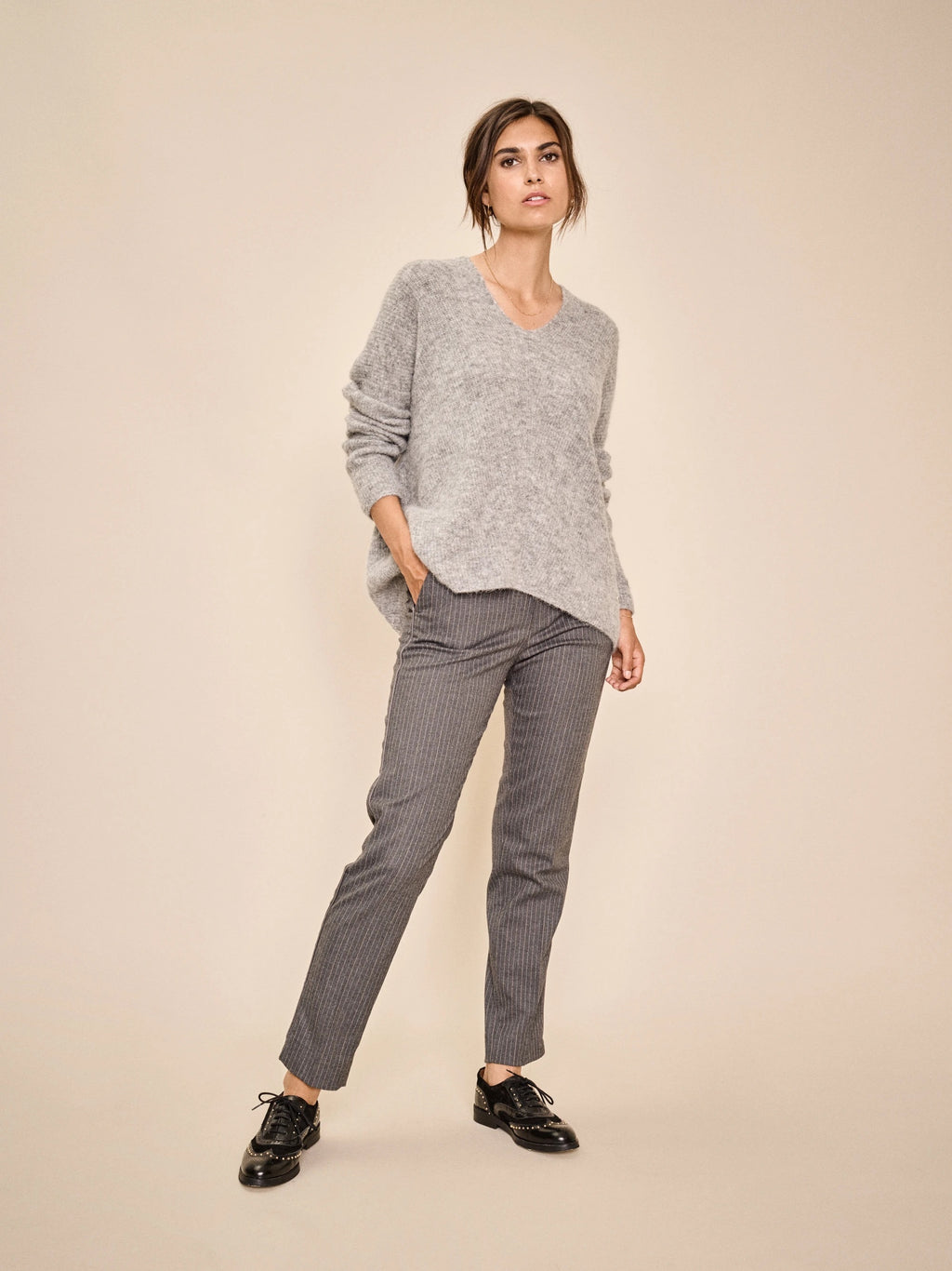 Mos Mosh  DREW Pin  - Grey Trouser