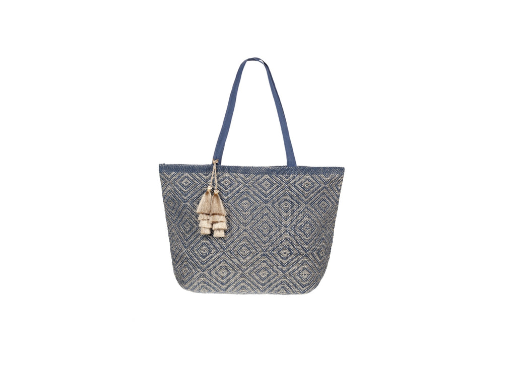Ashiana Mykonos Metallic Tote in Navy & Gold