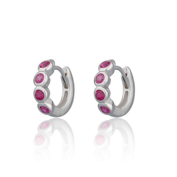 Scream Pretty Ruby Pink Bezel Set Earrings - Sterling Silver/ Gold