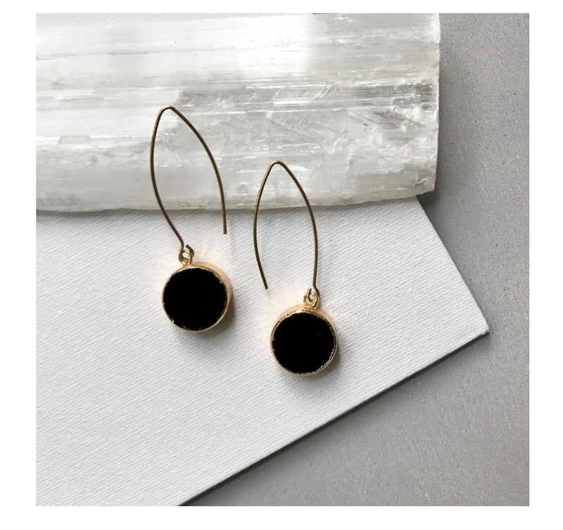 Decadorn Mini Circle Onyx Drop Earrings