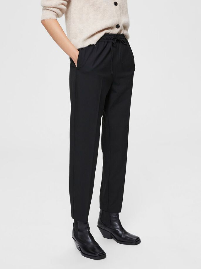 SELECTED FEMME Straight Fit Trouser - Black