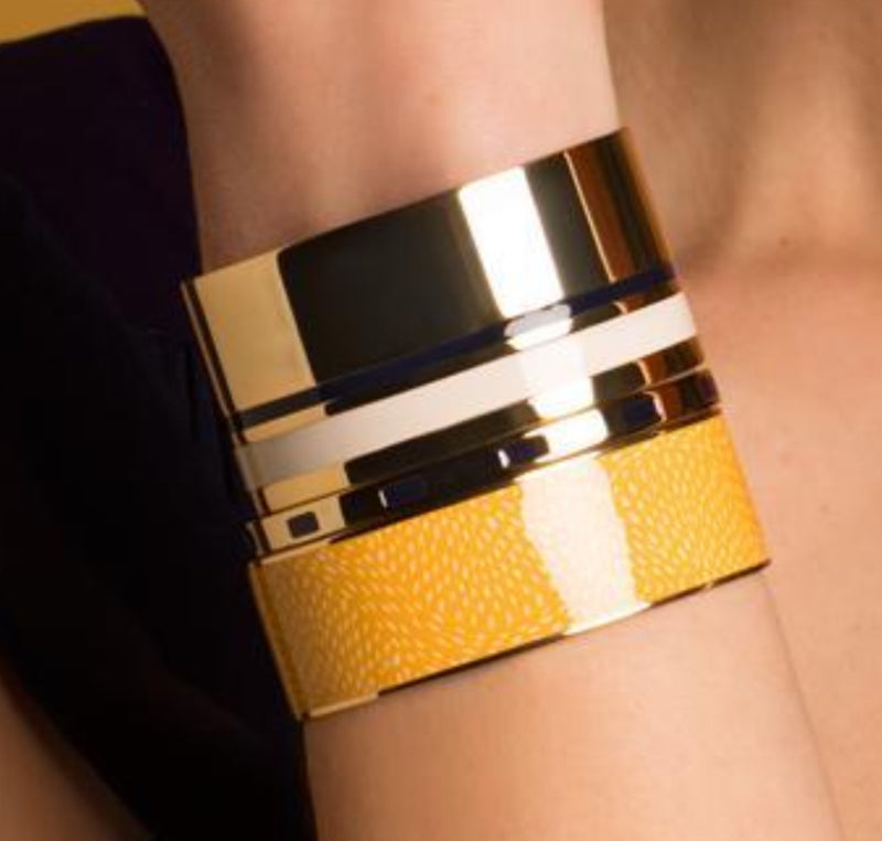 Bangle Up Wide Cuff Bangle - Saffron Yellow