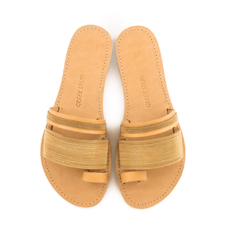 Greek Salad Sandals Gold Chain Leather Sandal