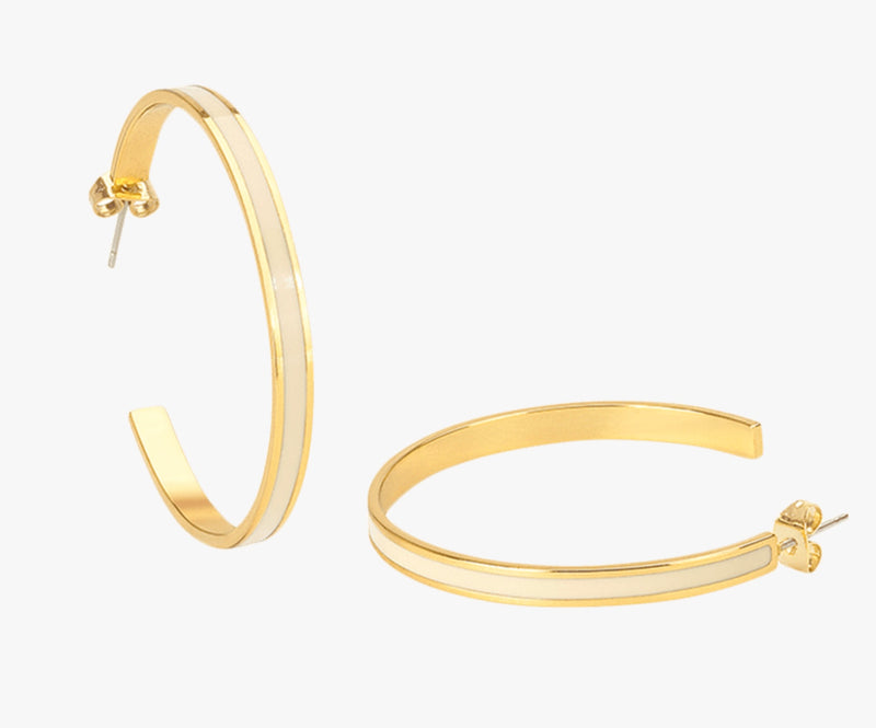 Bangle Up Hoop Earrings - White Sand