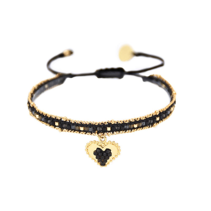 Mishky CUORE SACRO Beaded  Heart Bracelet- Black and Gold