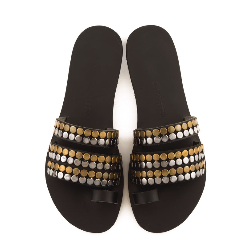 Greek Salad Sandals Metal Stud Black Leather Slide