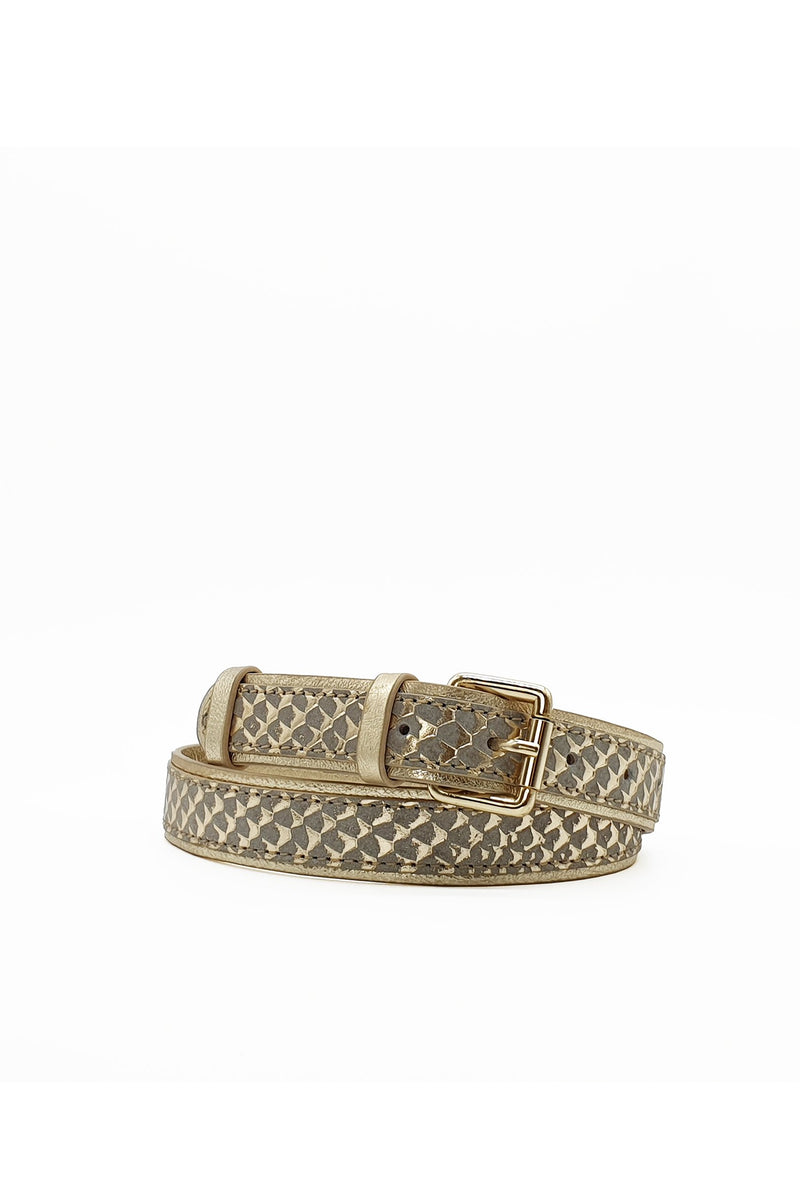Nooki London D'Zousa Leather Belt - Gold Snakeskin