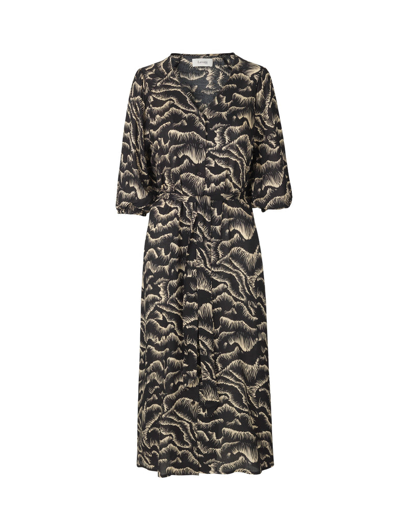 Levete Room Karoline Midi Dress - Black and Camel