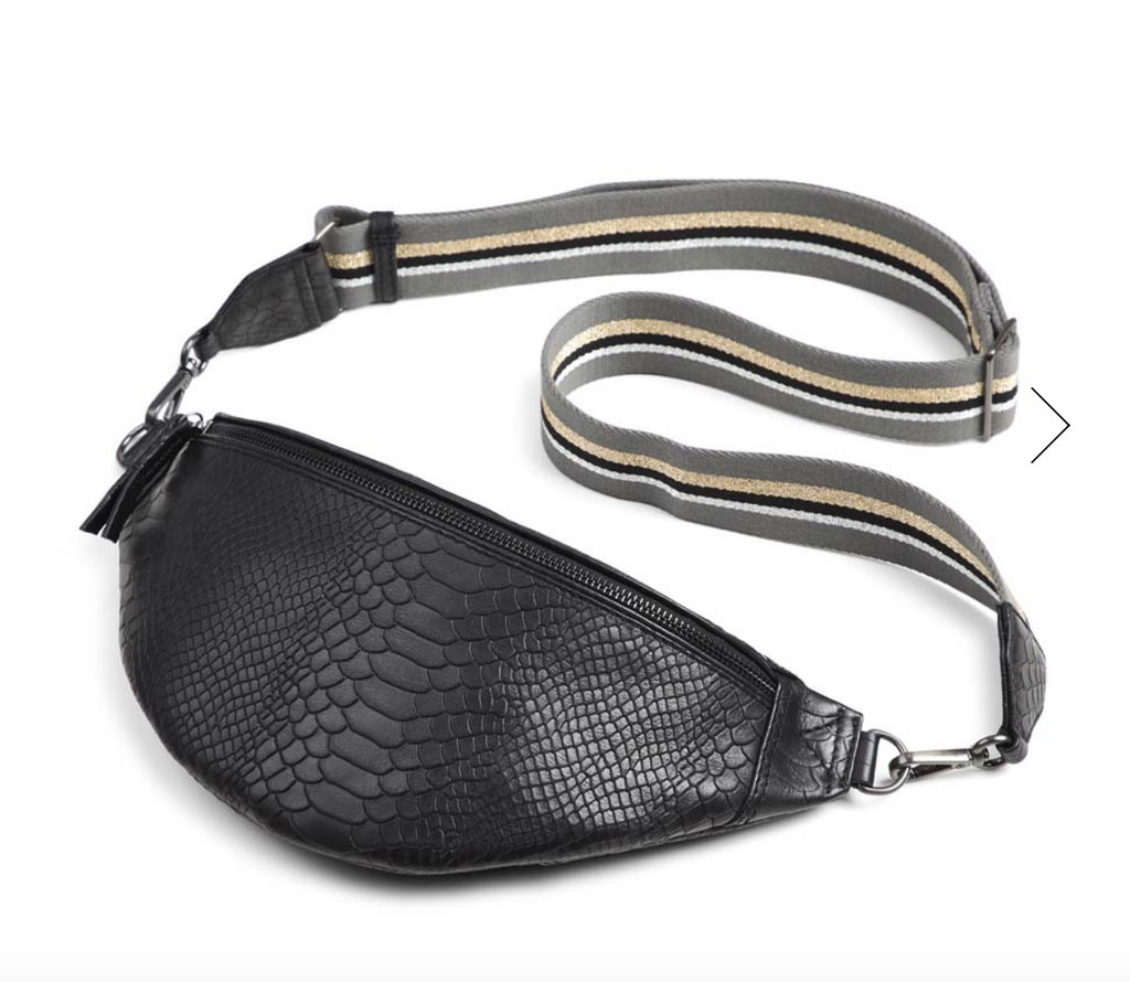 MarkBerg Elinor Leather Cross Body Bag - Black Snake Print