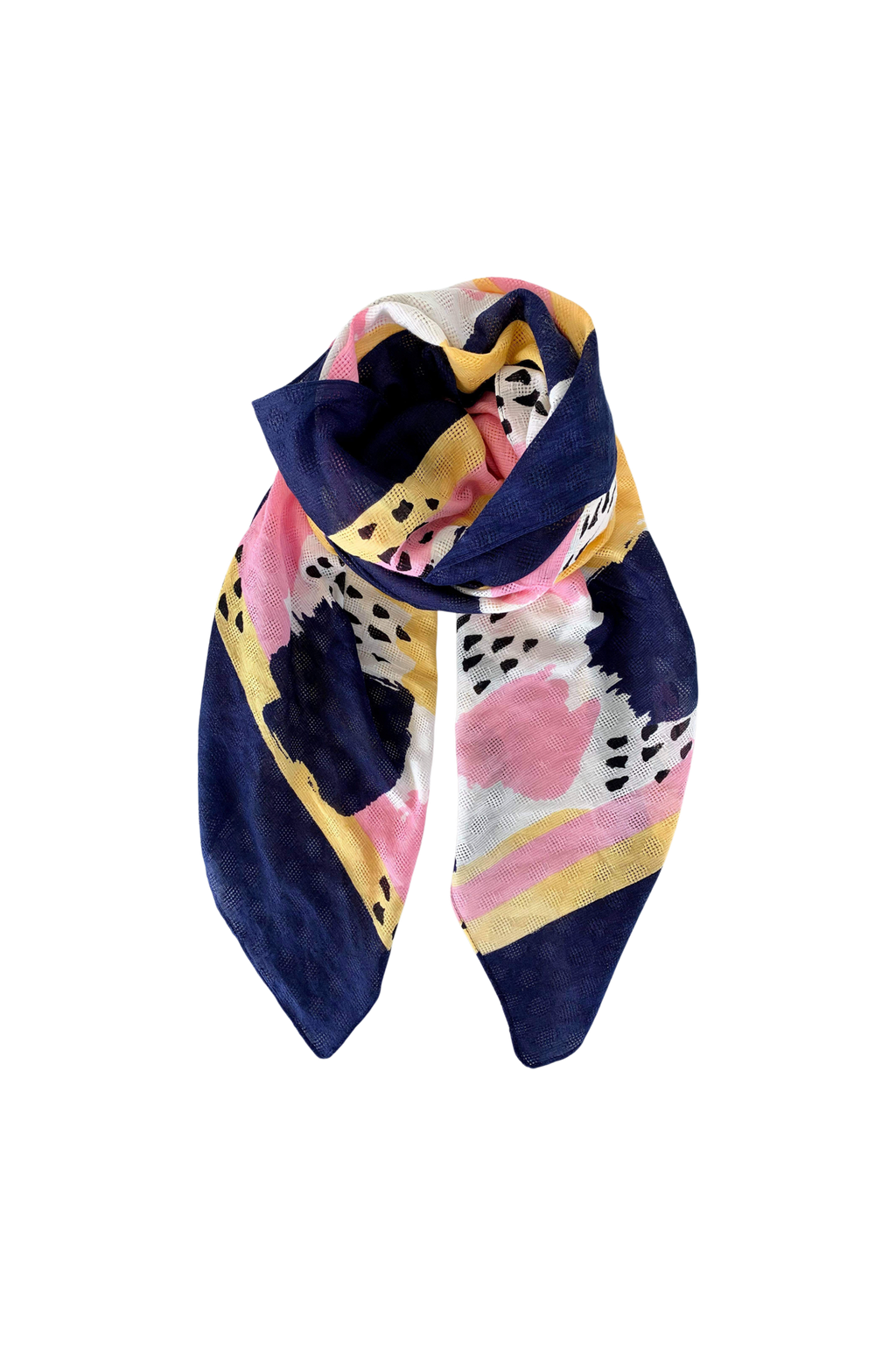 Black Colour Painted Scarf - Navy