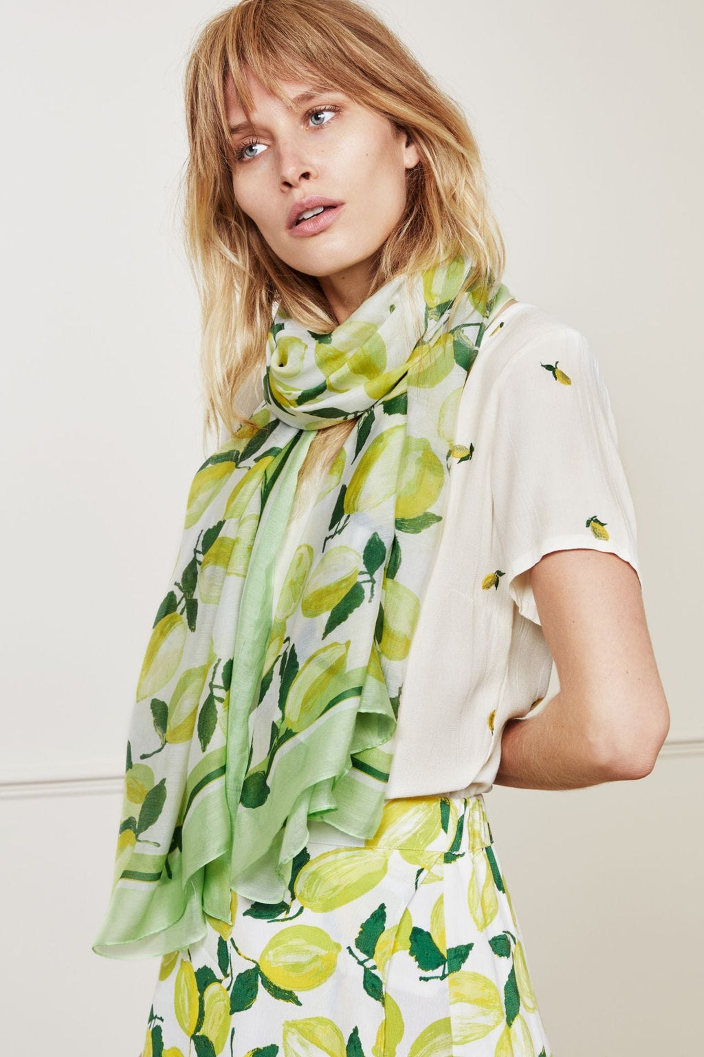 Fabienne Chapot Loua Silk Scarf - Lime Lights