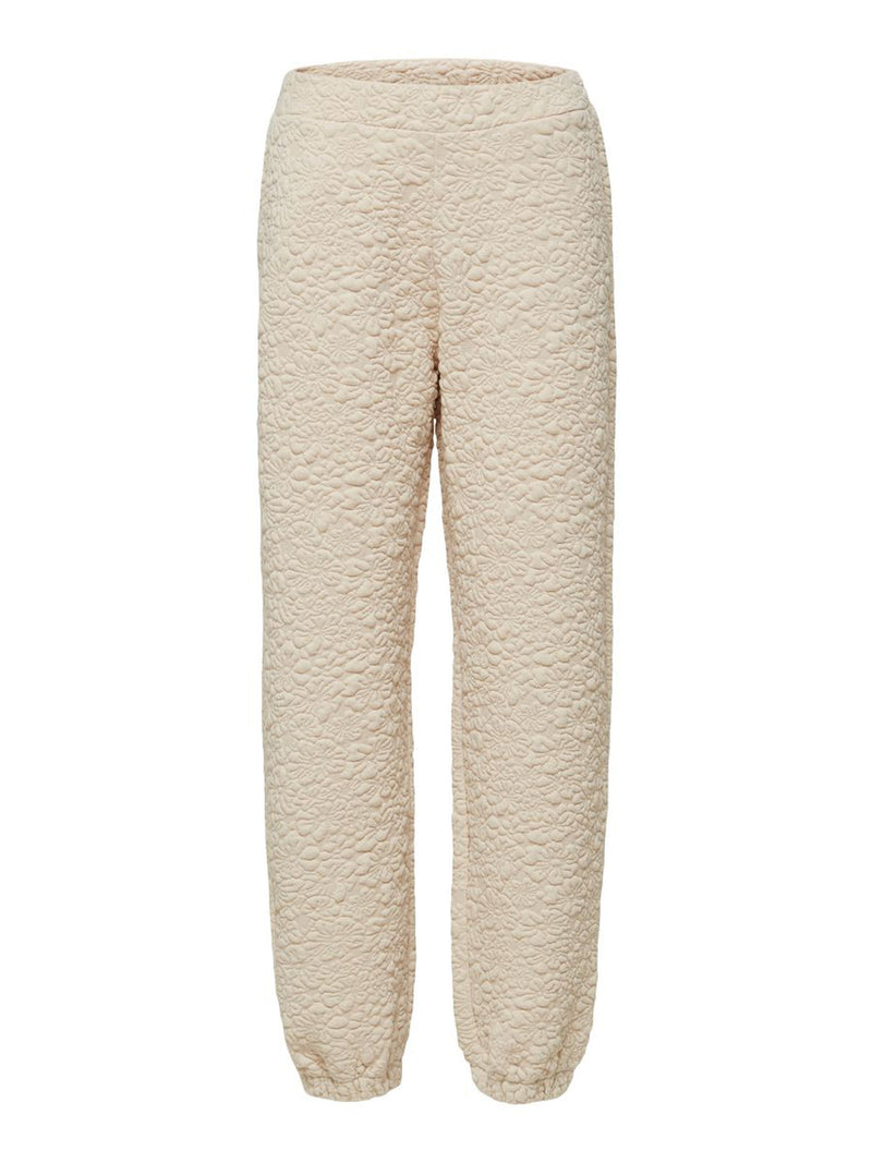 Selected Femme Textured Floral Print Sweatpants - Sandshell