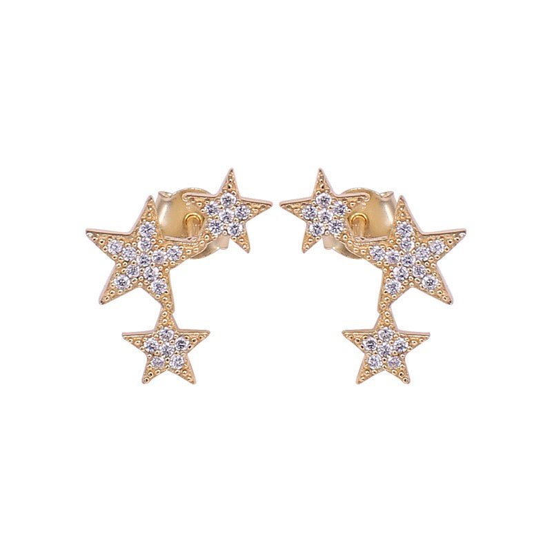 Icandi Rocks Lucky Star Trio Earrings - Gold