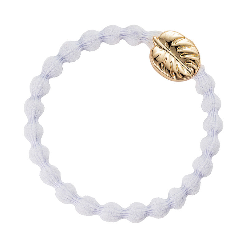 By Eloise Gold Palm Leaf Hair Band - White