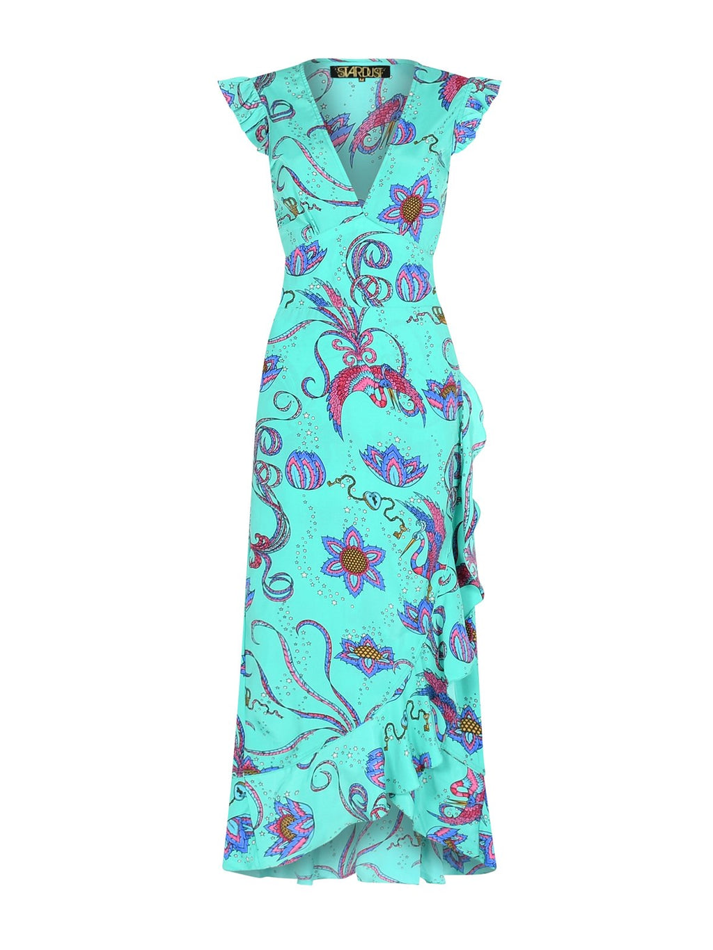 Stardust Sunflower Bird Dress - Emerald