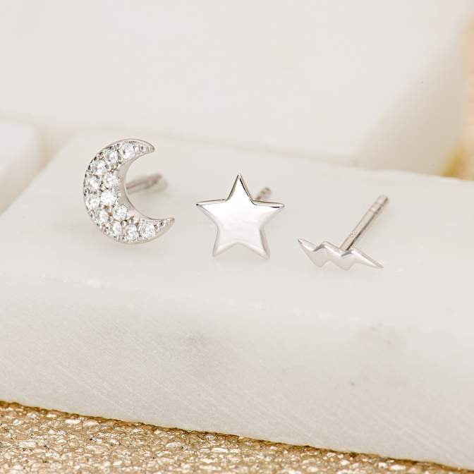 Scream Pretty Celestial Set of 3 Single Stud Earrings