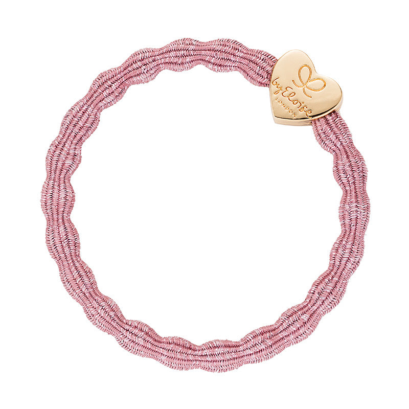 By Eloise Gold Heart Metallic Hair Band - Rose Pink