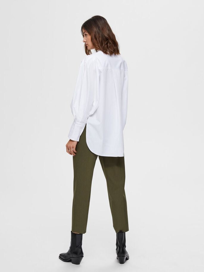 Selected Femme Holly Puff Sleeve Shirt - White