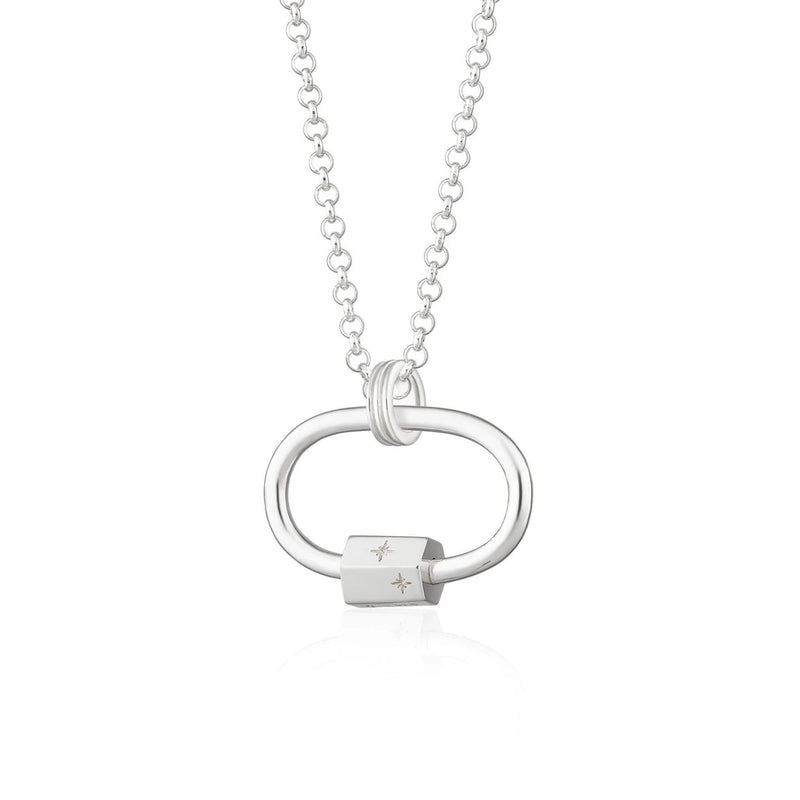 Scream Pretty Oval Carabiner Charm Collector Necklace - Sterling Silver