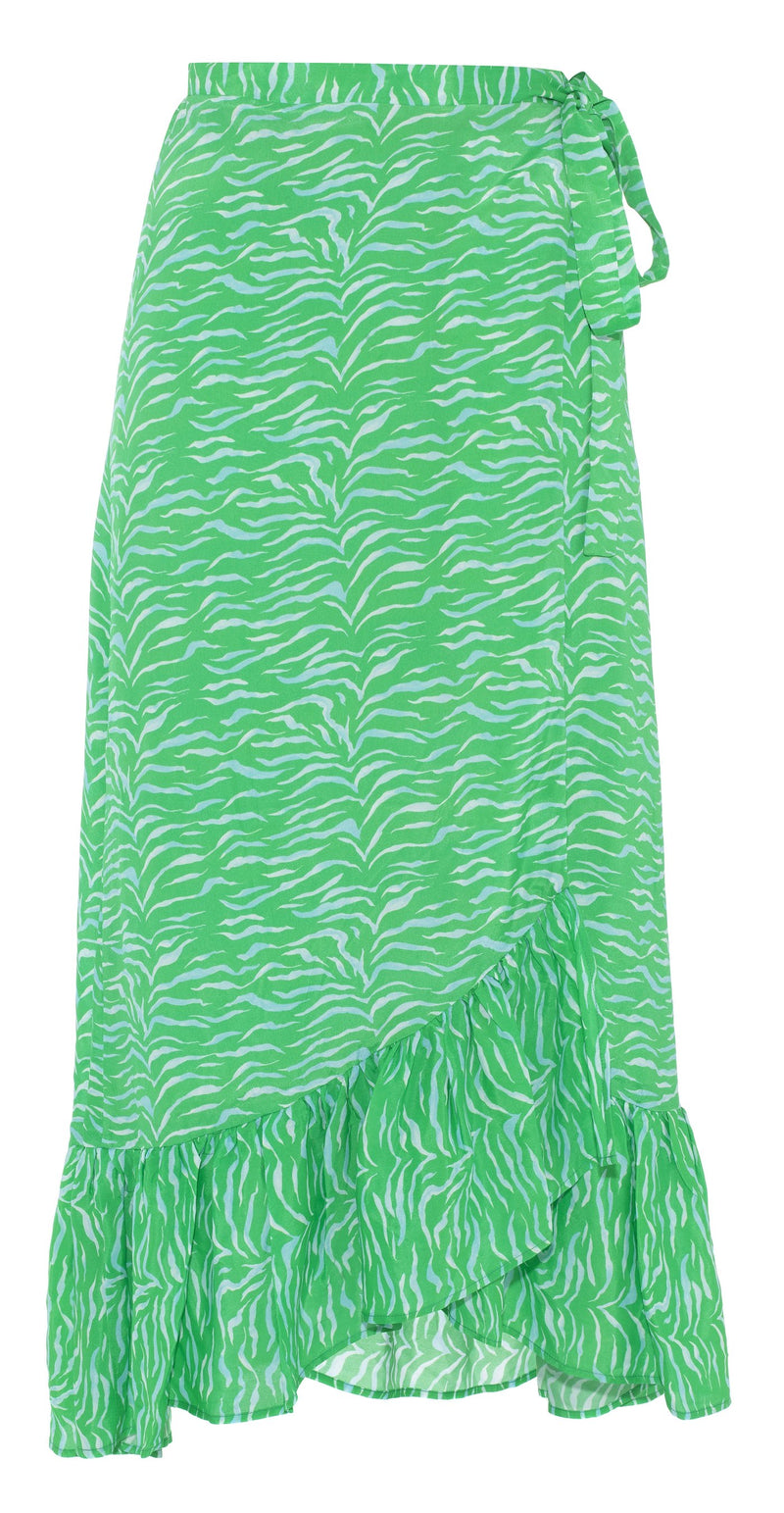 Primrose Park Simi Wrap Skirt - Green Animal