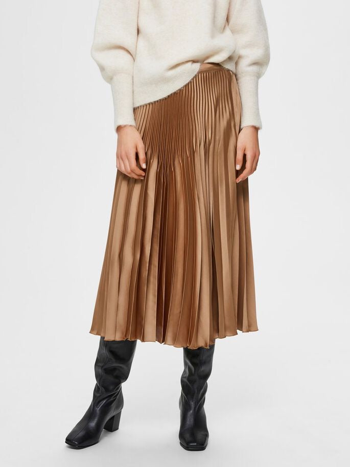 Selected Femme Satin Pleated MIDI Skirt - Tigers Ey